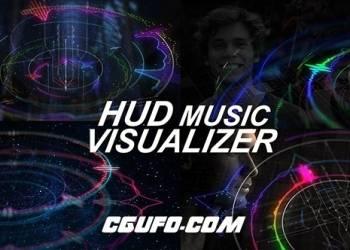 团购2期高科技HUD音乐类风格包装动画AE模版