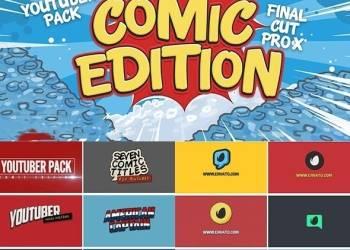 年费VIP专享FCPX插件-卡通漫画分镜头网络视频宣传包装字幕条Logo展示