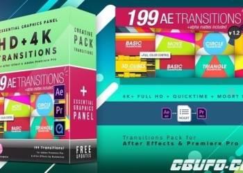 年费VIP专享AE/PR模版199个基本图形元素三维方块转场动画模板预设,199 Transitions Pack