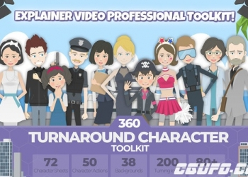 年费VIP专享10202AE模板-360可旋转卡通人物男女小孩角色场景MG动画素材包,360 Turnaround Character Toolkit