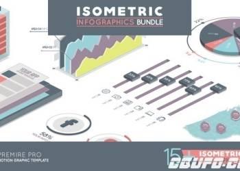 年费VIP专享11098数据信息图表动画Pr模版PR预设,Isometric Infographics Bundle Premiere Pro