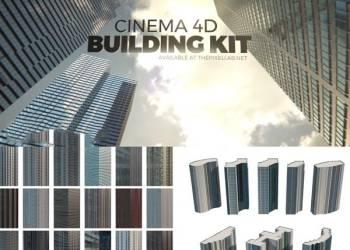C4D城市建筑楼房模型预设