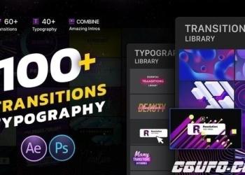 年费VIPAE模板-100+创意时尚转场文字标题排版动画,Transitions & Typography Library