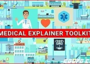 独家年费VIP专享医学医院医生医疗设备MG动画卡通素材包AE模版,Medical Explainer Toolkit – Healthcare Pack