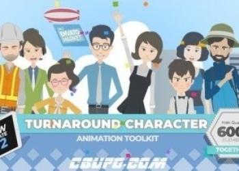 年费VIP专享12285AE模版-360可旋转卡通人物男女小孩角色场景MG动画素材包v2.0,360 Turnaround Character Toolkit v2.0