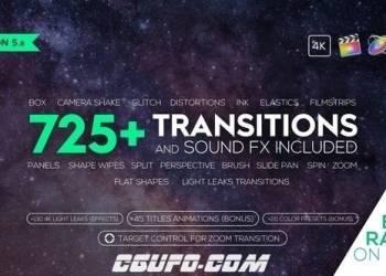 年费VIP专享FCPX插件:725组4K视频转场调色预设文字标题音效素材v5.8