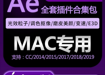 VIP专享Ae插件Mac全套合集中文粒子e3d素材Particular磨皮瘦脸降噪变速