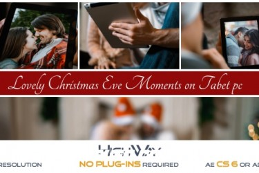 8265圣诞节平安夜视频包装动画AE模版,Lovely Christmas Eve Moments on Tablet PC