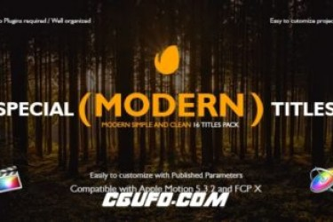 8313FCPX插件:16组时尚文字标题字幕动画,Special Modern Titles Pack for FCPX