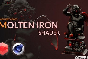 C4D redshift材质 炽热的铁红材质 Molten-glowing iron redshift shader