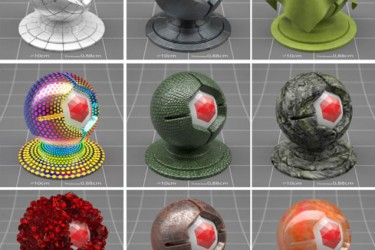 9个C4D Redshift材质预设 Redshift C4D Material Pack 3 Sampler