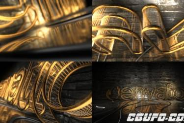 10369金色三维Logo动画AE模版,Dark Rejected Element 3D Logo Opener