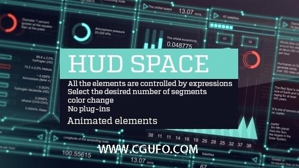 4097HUD平视特效元素动画AE模板合辑,Hud space