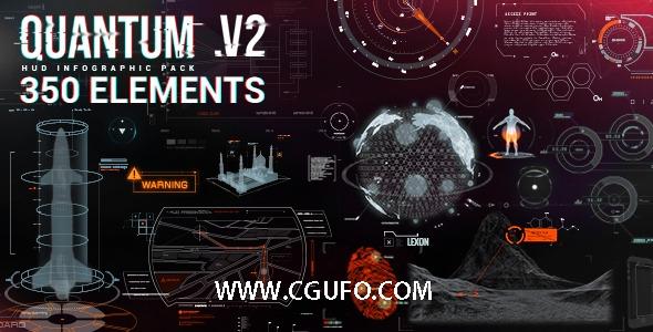 4874高科技信息图表HUD动画AE模版,Quantum HUD Infographic V2