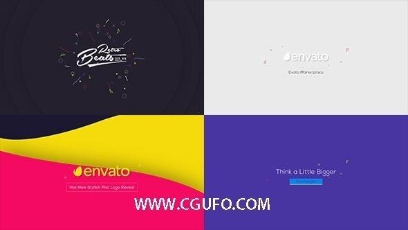 4892创意logo演绎动画AE模版,Flat Logo Animations