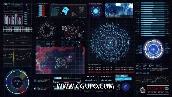 4975交互式HUD界面动画AE模版,Sci-fi Interface HUD