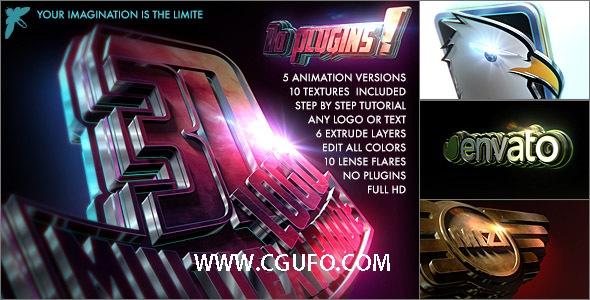4105超级3D质感标题Logo演绎动画AE模板,3D logo – Multi Extrude