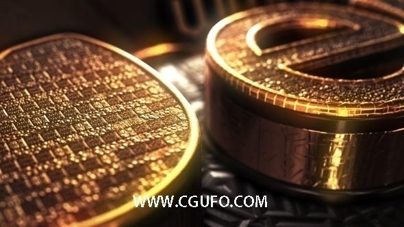 4111震撼巨幅黄金三维字体特效动画AE模板,Gold Treasure Logo