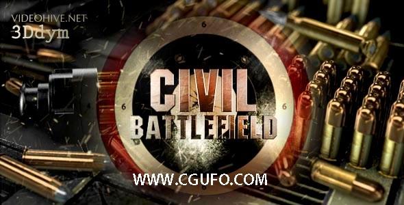 5045子弹武器特效动画E3D模版AE模版,Civil Battlefield