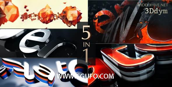 5163E3D logo演绎动画AE模版,Logo Reveal Pack