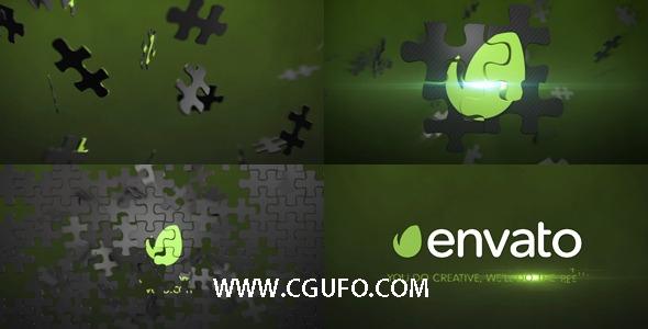 5310拼图动画AE模版,Puzzle Logo Animation Element 3D