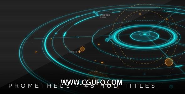 5441-2D 3D HUD动画AE模版,Prometheus – 48 HUD 2D & 3D titles