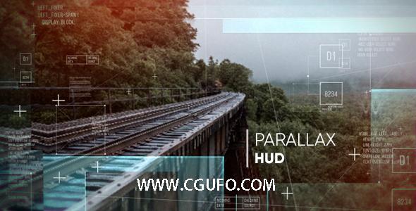 5502唯美图片HUD效果动画AE模版,Parallax HUD Slideshow