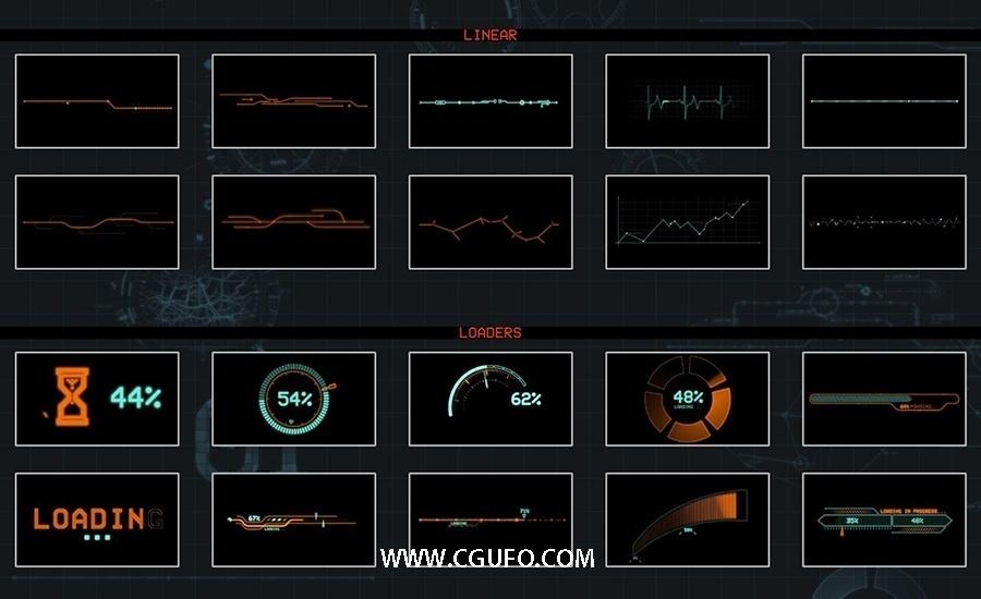 50组HUD高科技信息化UI影视素材高清视频素材带FCPX插件mHUD
