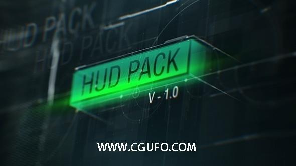 5740HUD素材包装动画AE模版,HUD Pack