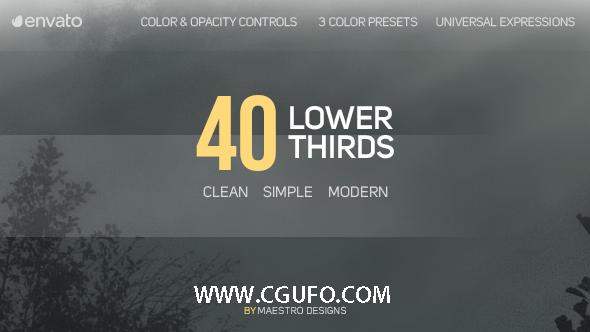 5765-40组字幕条动画AE模版,40 Lower Thirds