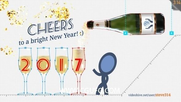 5804圣诞节干杯卡通动画AE模版,New Year Greetings