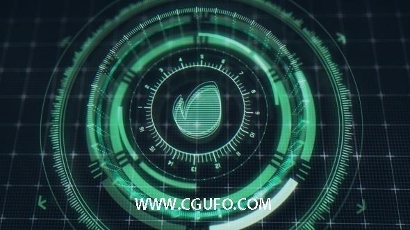 5815科幻HUD界面动画AE模版,Futuristic HUD Logo Reveal