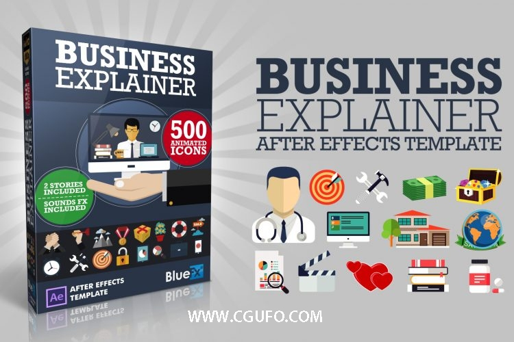 5851网上购物介绍MG动画AE模版素材合集包,The Business Explainer Pro Bundle