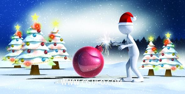 5885圣诞节卡通动画AE模版,Christmas Love Bomb