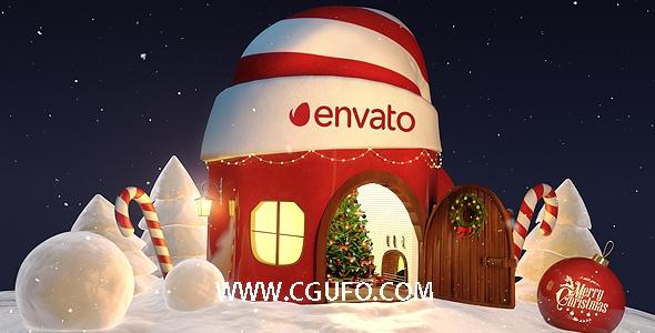 5935圣诞节卡通房子动画AE模版,Christmas