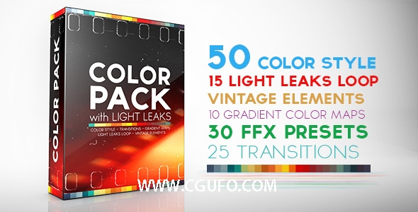 AE模板调色好助手工具50种色彩风格15组漏光效果30组FFX预设文件,Color Pack with Light Leaks