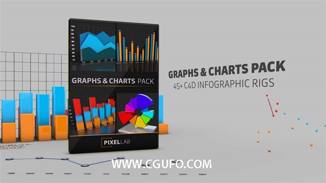 C4D预设-图形曲线图数据图图表表格饼形图饼状图走势图预设