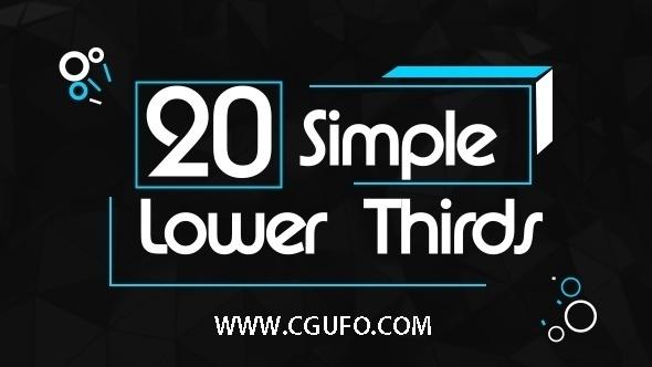 5951-20组简单文字标题字幕条动画AE模版,20 Simple Lower Thirds