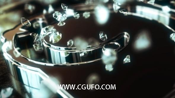 5973钻石E3D模版logo演绎动画钻石AE模版,Silver Brilliants Logo