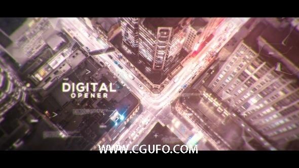 6020大气数字城市科技城市宣传片包装动画AE模版,Digital Parallax Opener | Slideshow