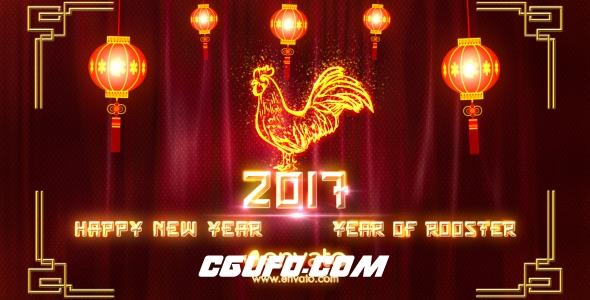 6025-2017年新年鸡年春节联欢晚会AE片头AE模版,Chinese New Year 2017