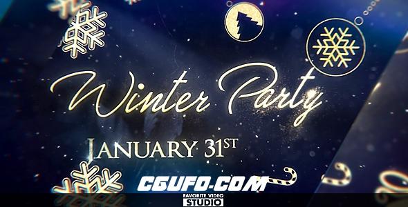 6034冬季烟花聚会片头动画AE模版,Winter After Party