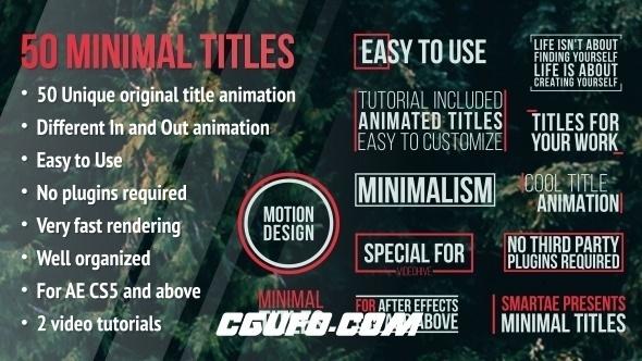 6048视频包装字幕标题动画AE模版,Minimal Titles