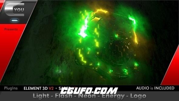 6050霓虹灯闪烁能量logo演绎动画AE模版,Light Flash Neon Energy Logo