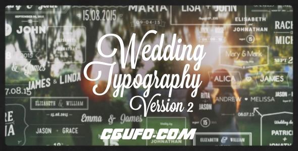6095婚礼MV视频文字标题包装动画AE模版,Wedding Typography Titles