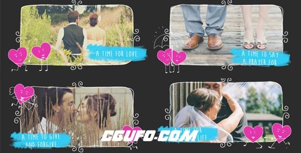6108唯美婚礼相册展示动画AE模版,Valentine Love Slideshow