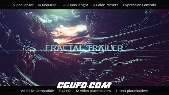 6110史诗级电影文字标题动画AE模板,Fractal Trailer
