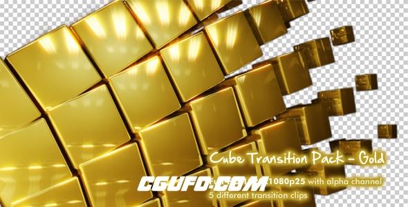 148金色的方盒子转场动画高清视频素材,Cube Transition Pack - Gold