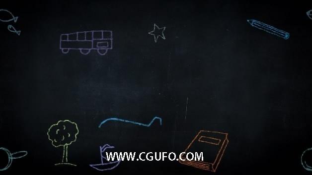 141黑板粉笔绘画特效高清视频素材
