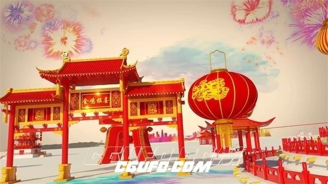 6039-2017新春鸡年3D场景节日喜庆企业联欢晚会宣传片头AE模板